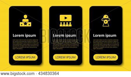 Set Science Fiction, Cinema Auditorium With Screen And Actor Star. Business Infographic Template. Ve