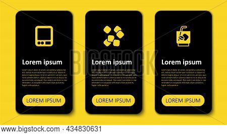 Set Espresso Tonic Coffee, Sugar Cubes And Electronic Scales. Business Infographic Template. Vector