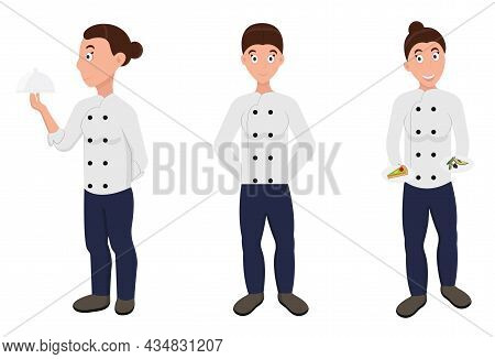 Chef Woman Vector Illustration. Chef Woman In Different Poses