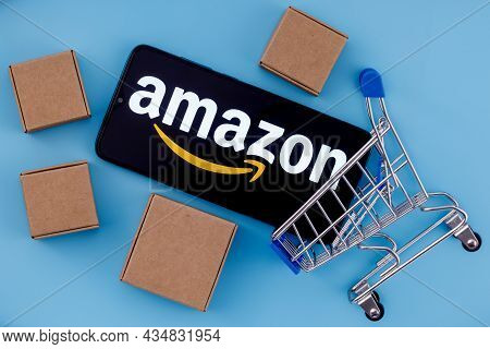 Kazan, Russia - Oct 02, 2021: Amazon Is An American Company, One Of The World's Largest E-commerce P