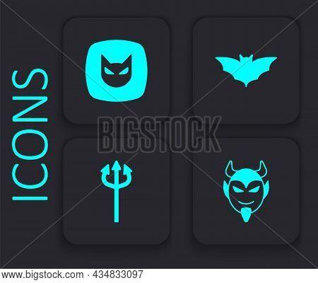 Set Devil Head, Black Cat, Flying Bat And Trident Devil Icon. Black Square Button. Vector