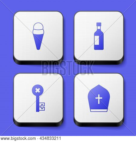 Set Ice Cream In Waffle, Bottle Of Wine, Old Key And Pope Hat Icon. White Square Button. Vector