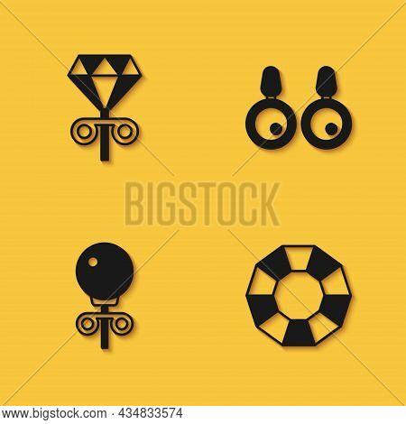 Set Stud Earrings, Diamond, And Earrings Icon With Long Shadow. Vector