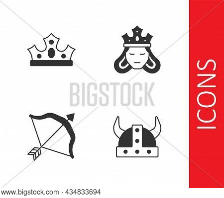 Set Viking In Horned Helmet, King Crown, Medieval Bow And Arrow And Princess Queen Icon. Vector