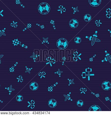 Set Mace With Spikes, Crossed Medieval Sword, Round Shield And Battle Hammers On Seamless Pattern. V