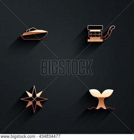 Set Speedboat, Marine Bollard With Rope, Wind Rose And Whale Tail Icon With Long Shadow. Vector