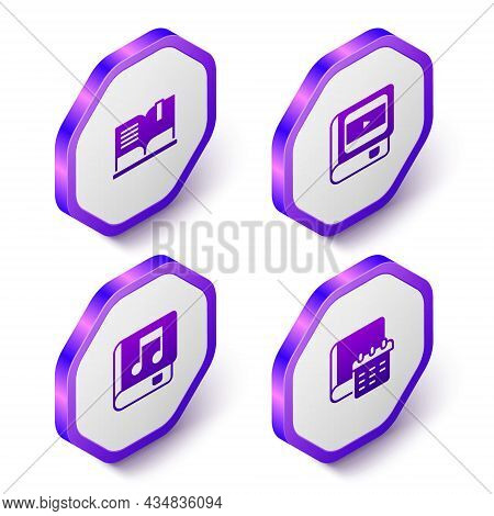 Set Isometric Open Book, Book About Cinema, Audio And Daily Paper Notepad Icon. Purple Hexagon Butto