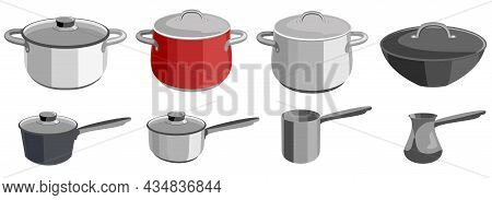 Pots And Saucepans. Metal Dishes. Kitchen Objects Pots, Turk And Ladle, Kitchenware Tools Collection