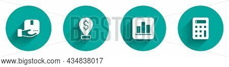 Set Delivery Hand With Box, Cash Location Pin, Pie Chart Infographic And Calculator Icon With Long S