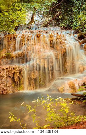 Krushuna Waterfalls Turquoise Water Terraces And Pools, The Biggest Travertine Cascade In Bulgaria