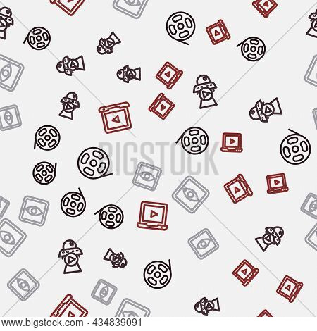 Set Line Film Reel, Science Fiction, Rating Movie And Online Play Video On Seamless Pattern. Vector