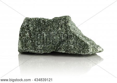 Rough Raw Fragment Of Jadeite On A White Glossy Background