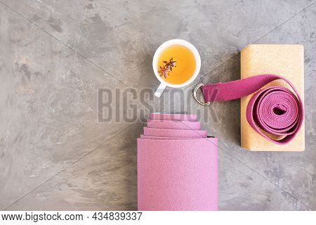 Rolled Yoga Mat, Cork Block, Yoga Strap, Mala Beads And Ayurveda Tea For Relax Yoga Practice Y Medit