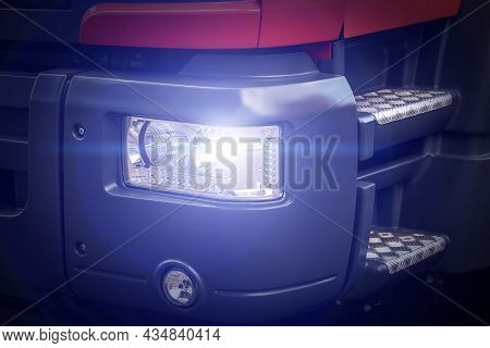 The Bright Light Of The Front Headlight Of A Truck, Close-up. Glare And Glow. Electrical Equipment O