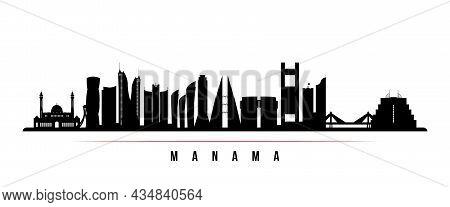 Manama Skyline Horizontal Banner. Black And White Silhouette Of Manama, Bahrain. Vector Template For