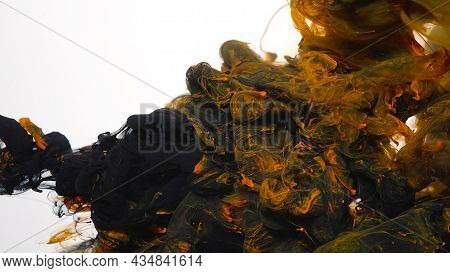 Black And Orange Cloud Of Ink On A White Background. Abstract Background. Drops Of Black And Orange