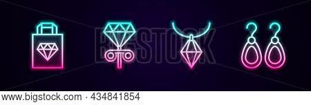 Set Line Shopping Bag Jewelry, Stud Earrings, Pendant On Necklace And Earrings. Glowing Neon Icon. V