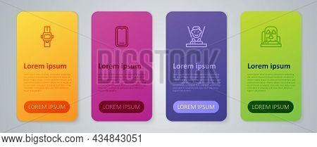 Set Line Hologram, Radioactive Warning Lamp, Wrist Watch And Mobile Phone. Business Infographic Temp