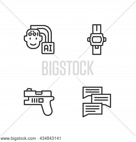 Set Line Speech Bubble Chat, Futuristic Weapon, Humanoid Robot And Wrist Watch Icon. Vector