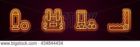 Set Line Bullet, Bulletproof Vest, Cartridges And Trap Hunting. Glowing Neon Icon. Vector