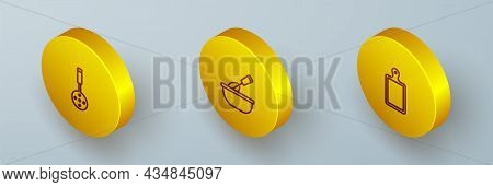 Set Isometric Line Spatula, Cooking Whisk With Bowl And Cutting Board Icon. Vector