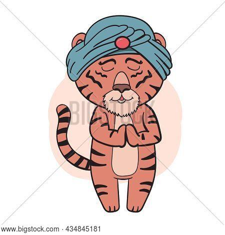 Tiger Relax Yoga, An Animal In A Turban Vector Clip Art Illustration