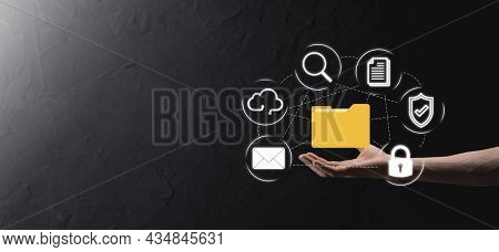 Document Management System Dms .businessman Hold Folder And Document Icon.software For Archiving, Se