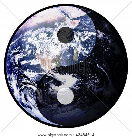Illustration of planet earth with Yin Yang symbol poster