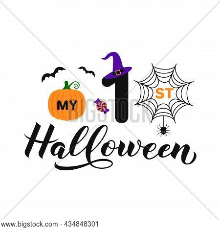 My 1st Halloween Calligraphy Hand Lettering. Halloween Quote. Vector Template For Greeting Card, Ban
