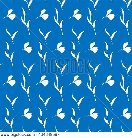 Pattern With Small White Flowers And Leaves. On Floral Pattern On A Blue Background. Vector Illustra