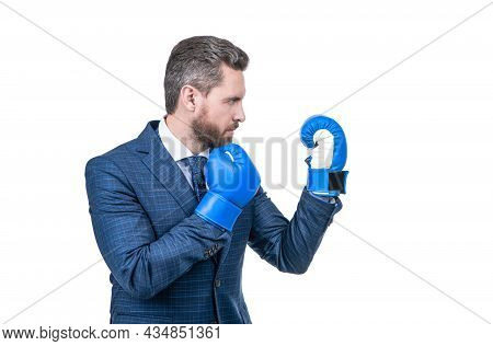 Man In Suit And Boxing Gloves At Corporate Business Battle Isolated On White, Business Fight.