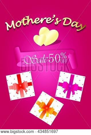 Mother's Day Sale Banner With Gift Boxes On Pink Background, Mother's Day 50% Sale Vector Illustrati