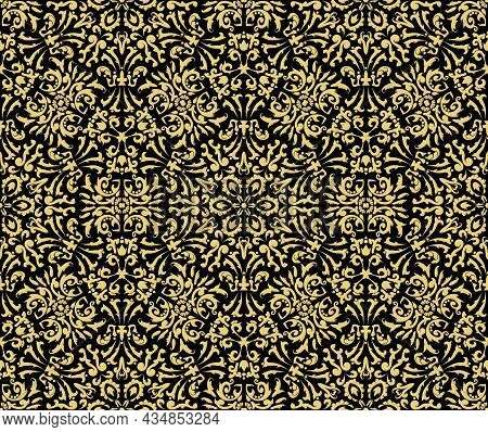 Vintage Seamless Pattern With Golden Ornaments On A Black Background. For Fabric, Wallpaper, Venetia