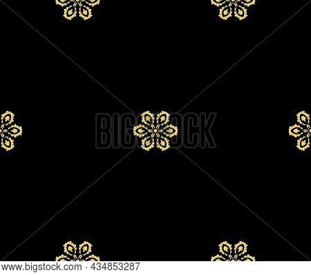 Golden Flowers On A Black Background. Minimal Design. For Fabric, Wallpaper, Venetian Pattern,textil