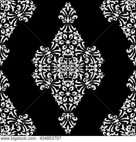 Rhombus Damask Seamless Vector Pattern. Black And White. Decorative Texture. Mehndi Patterns. For Fa