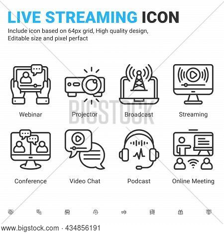 Vector Live Streaming Icons Vector With Outline Color Style Isolated On White Background. Stream Bro