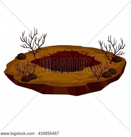 Big Hole In Ground. Brown Dry Soil And Mine. Element Of Desert Landscape. Cartoon Illustration. Dead