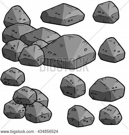 Set Of Gray Cartoon Granite Stones Of Different Shapes. Element Of Nature, Mountains, Rocks, Caves O