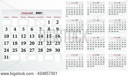 Calendar 2021, English Pocket Calendar. Vector Set. Basic Grid Calendar Template For 2021 Year. Plan