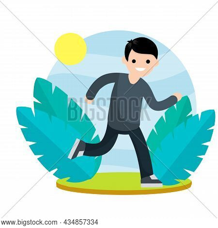Young Man In Shorts And T-shirt. Running And Sports. Active Lifestyle. Movement And Walking. Cartoon