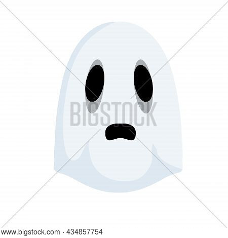 Ghost.the Halloween Element. White Cute Character. Icon Of Death. Flat Cartoon Illustration. Funny F