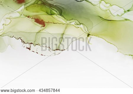 Abstract Hand Painted Alcohol Ink Texture. Green And Copper Colors. Creative Background For Your Des