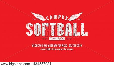 Narrow Sans Serif Font In Sport Style And Print For T-shirt. Letters And Numbers For Logo And Emblem