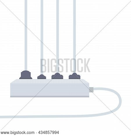 Many Outlets To Plug With Wires. Load On System. Cartoon Flat Illustration. Household Appliance At H