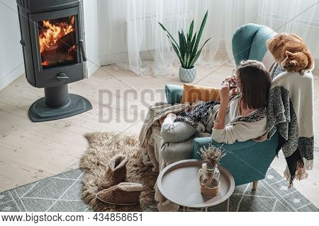 Young Woman In A Cozy Armchair And A Plaid Sitting By The Fireplace With A Domestic Cat, Drinking Te