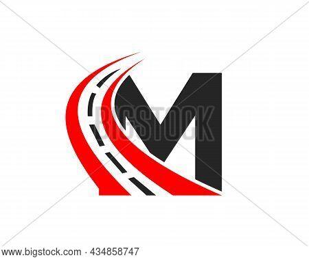 Transport Logo With M Letter Concept. M Letter Road Logo Design Template
