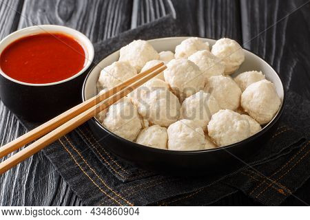 Bakso Indonesian Meatball Best Street Food With Sauce Close Up In The Bowl On The Table. Horizontal