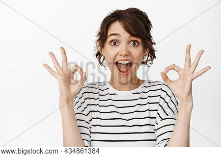 Good Job. Pretty Carefree Modern Stylish Caucasian Girl Long Chestnut Hair Show Okay Ok Approval Sig