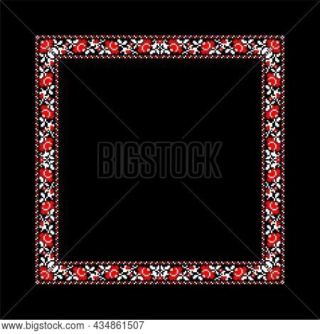 Vector Illustration Of Square Frame Template With Ukrainian National Ornament. Traditional White And