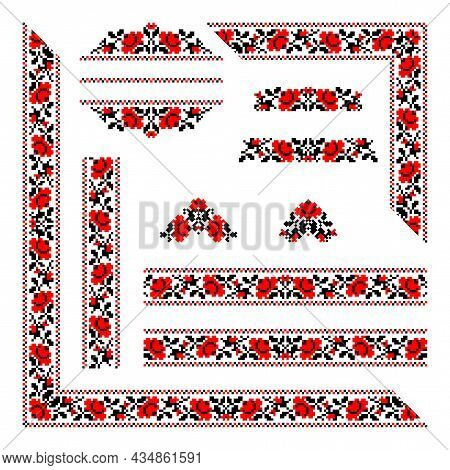 Vector Set Of Folk Ukrainian Ornaments: Ukrainian National Seamless Borders, Patterns, Corners, Sign